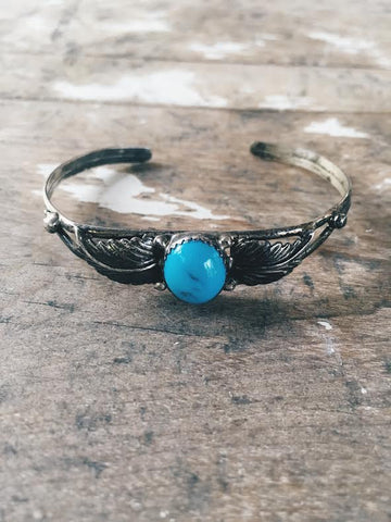 Vintage Turquoise Feather Bangle *SOLD