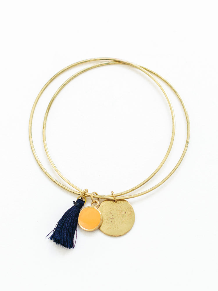 Tassel Charm Bracelet Gold - Nickel & Thread