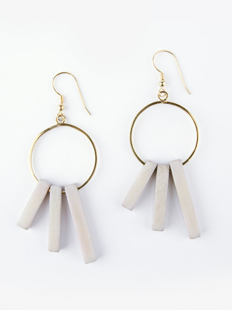 Hoop Block Earrings Grey - Nickel & Thread