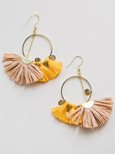 Raffia Charm Earrings Yellow - Nickel & Thread