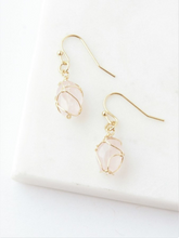 Load image into Gallery viewer, Pink Stone Wrap Earrings - Nickel & Thread