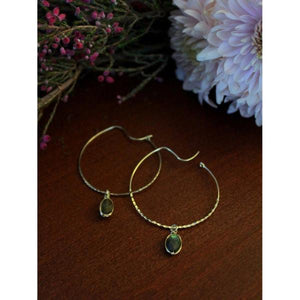 Labradorite Hoops - Nickel & Thread