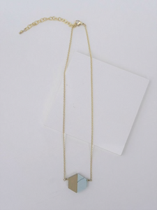 Balanced Geometry Necklace- Blue - Nickel & Thread