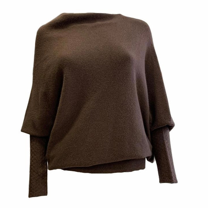 Batwing Asymmetric Jumper With Fitted Sleeves. -  Luna Boutiques