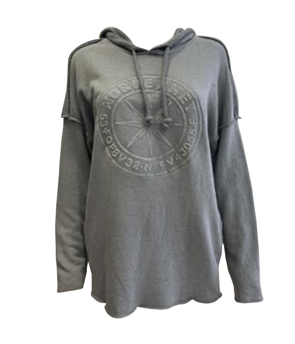Hoodie With Embossed Pattern -  Luna Boutiques