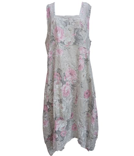 Floral Linen Sleeveless Dress -  Luna Boutiques