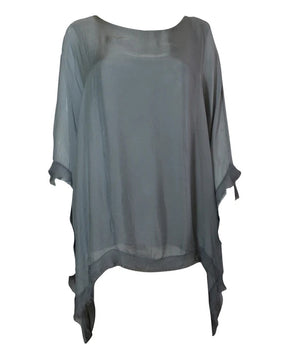Load image into Gallery viewer, Edge Detail Floaty Silk Top -  Luna Boutiques
