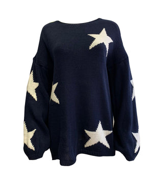 Oversized Balloon Sleeve Star Jumper -  Luna Boutiques