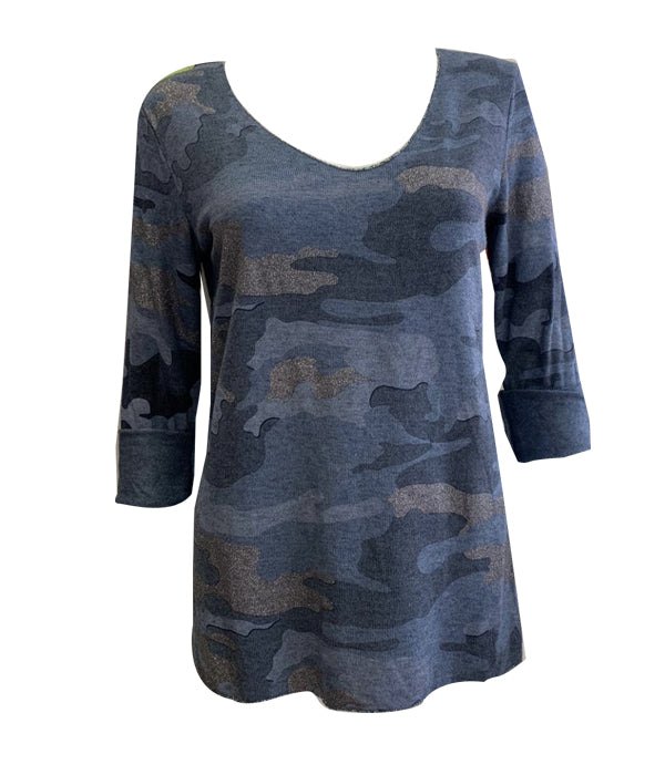 Camo Sparkle Long Sleeve Top -  Luna Boutiques