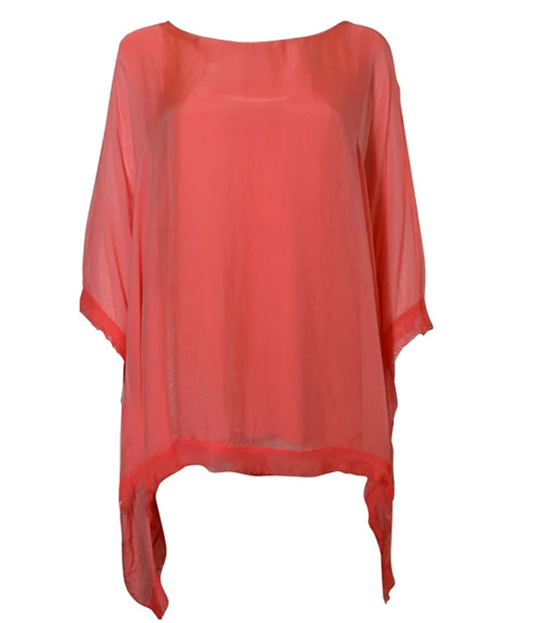 Edge Detail Floaty Silk Top -  Luna Boutiques