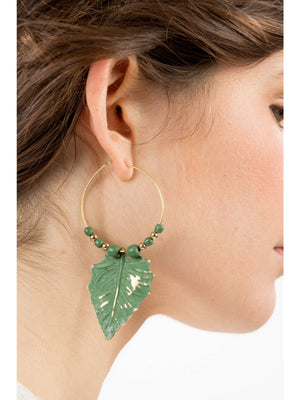 Gold & Bead Hoop Leaf Earrings -  Luna Boutiques
