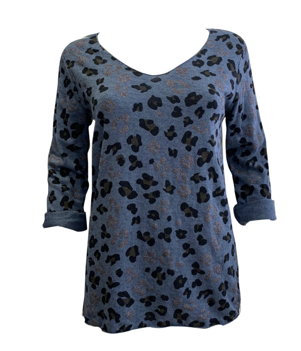 Load image into Gallery viewer, Leopard Sparkle Long Sleeve Top -  Luna Boutiques