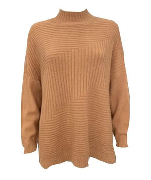 Load image into Gallery viewer, High Neck Diagonal Stripe Rib Knit Jumper -  Luna Boutiques