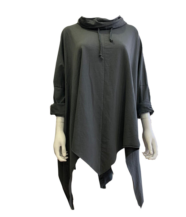 Oversized Aysemtric Drawstring Top -  Luna Boutiques