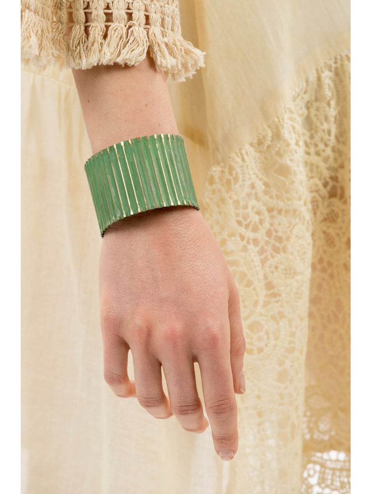 Green With Gold Ridged Metal Bangle -  Luna Boutiques