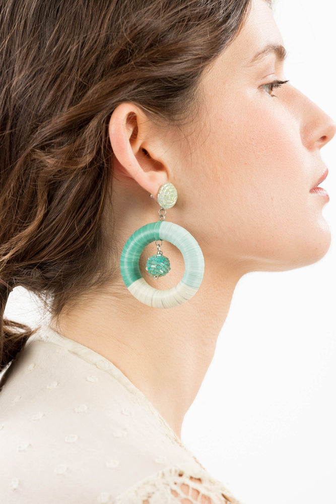 Glass Beaded Drop Circle Earrings -  Luna Boutiques