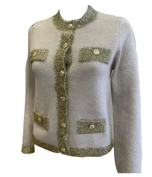Load image into Gallery viewer, Glitter Thread Trim Cardigan -  Luna Boutiques