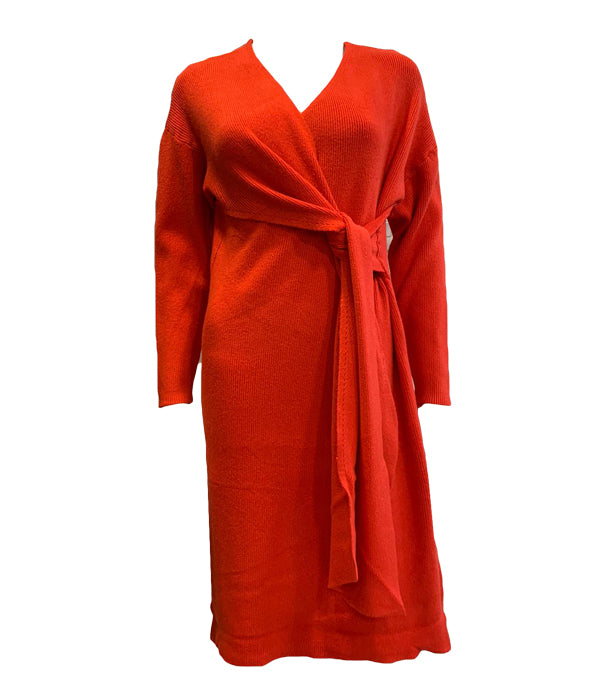 Ribbed V Neck Wrap Dress -  Luna Boutiques