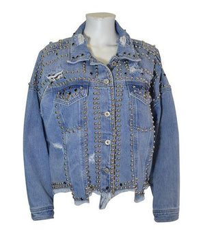 Load image into Gallery viewer, Studded Denim Jacket -  Luna Boutiques