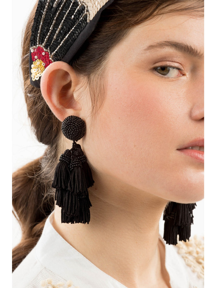 Load image into Gallery viewer, Big Beaded Tassel Drop Earrings -  Luna Boutiques