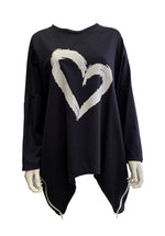 Oversize Heart Sweatshirt With Zips -  Luna Boutiques
