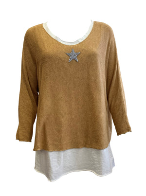 Load image into Gallery viewer, Double Layer Jersey Top With Star -  Luna Boutiques