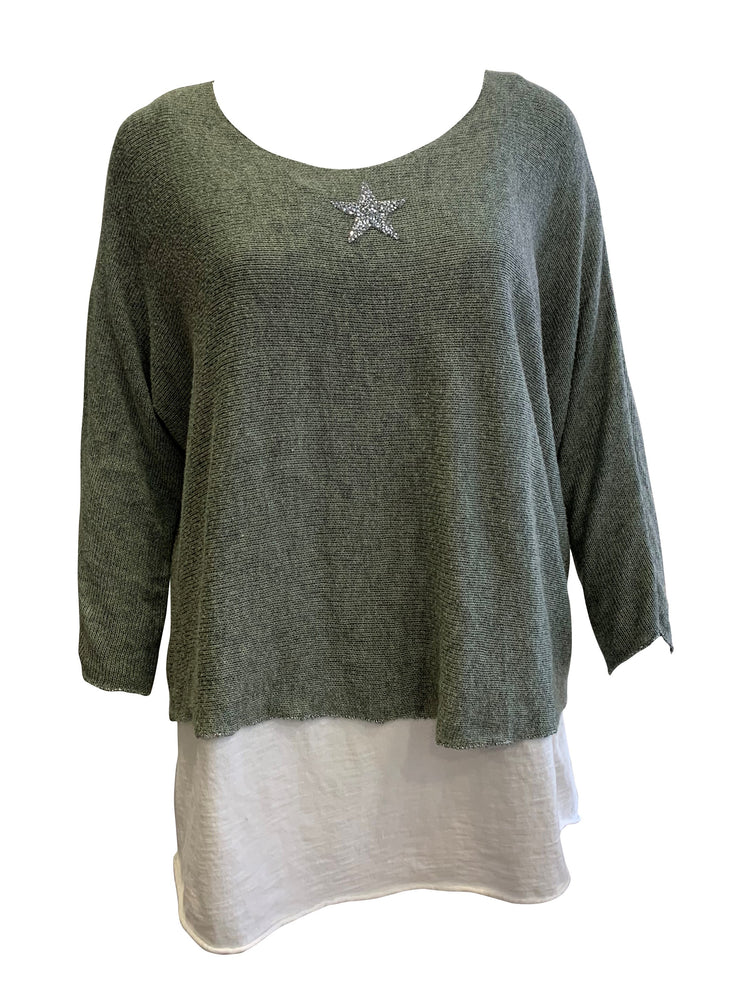 Double Layer Jersey Top With Star -  Luna Boutiques