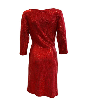 V Neck Ruched Side Sequin Dress -  Luna Boutiques