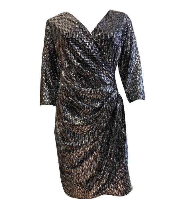 Load image into Gallery viewer, V Neck Ruched Side Sequin Dress -  Luna Boutiques
