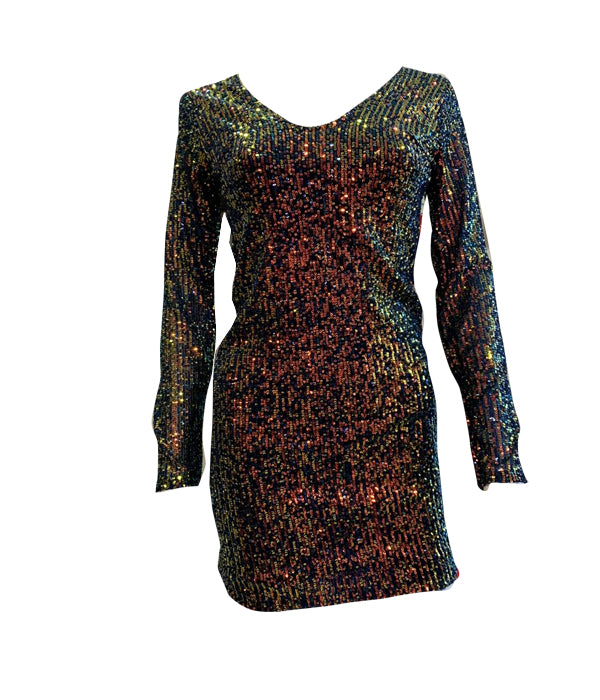Load image into Gallery viewer, Multi Sequin V Neck Dress -  Luna Boutiques