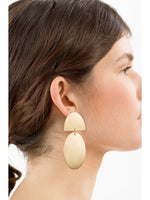 Gold Oval Disk Drop Earrings -  Luna Boutiques