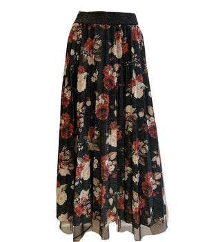 Flower Print Net Layer Skirt -  Luna Boutiques