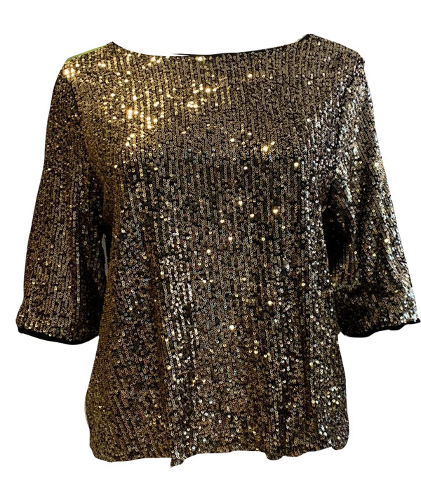 Load image into Gallery viewer, Gold Sequin Top -  Luna Boutiques