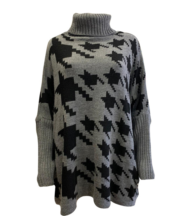 Load image into Gallery viewer, Oversized Houndstooth Roll Neck Jumper -  Luna Boutiques