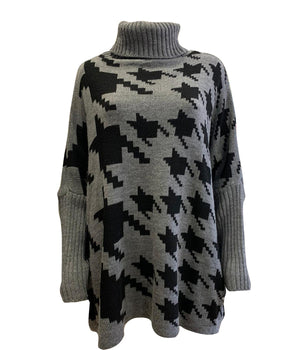 Oversized Houndstooth Roll Neck Jumper -  Luna Boutiques