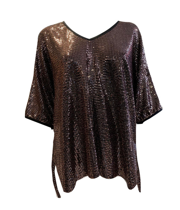 Load image into Gallery viewer, V Neck Short Sleeve Sequin Top -  Luna Boutiques