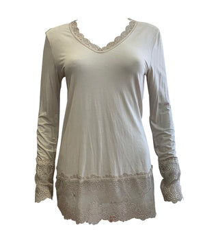 Long Sleeve Lace Trim Top -  Luna Boutiques