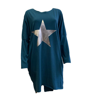 Long Sleeve Silver Star Top -  Luna Boutiques