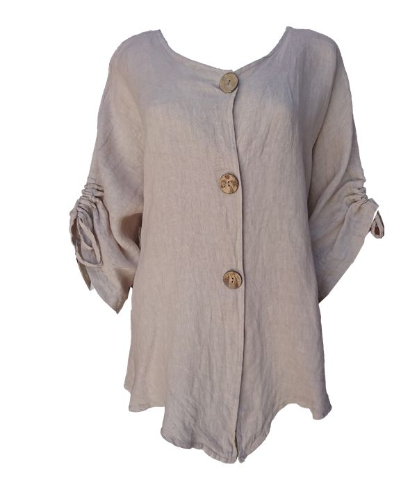 Linen V Neck with Buttons -  Luna Boutiques