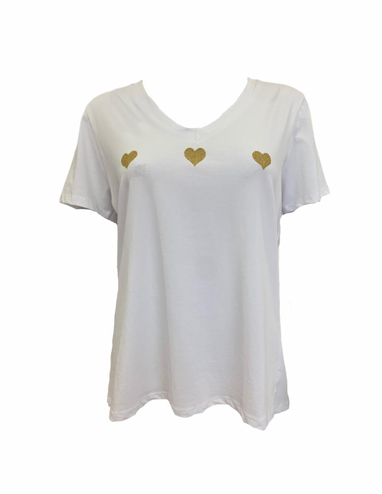 Load image into Gallery viewer, Three Gold Heart T-Shirt -  Luna Boutiques