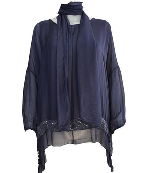 Sequin Layer Silk Scarf Top -  Luna Boutiques