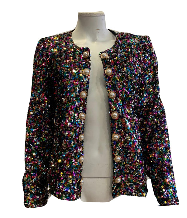 Multi Sparkle Gold Button Jacket -  Luna Boutiques