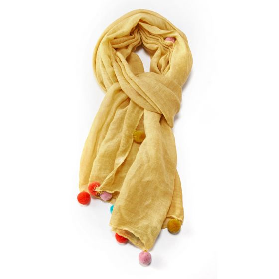 Load image into Gallery viewer, Big Multi Pom Pom Scarf -  Luna Boutiques