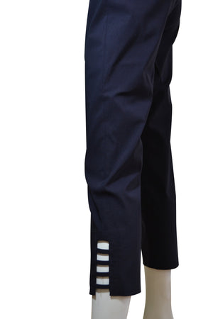 Slim Fit Side Ladder Slit Navy Trousers