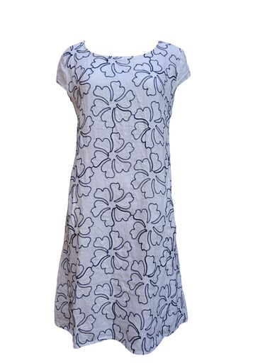 White and navy floral linen dress -  Luna Boutiques