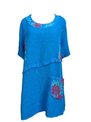 Load image into Gallery viewer, Linen floral tunic dress with floral pocket -  Luna Boutiques