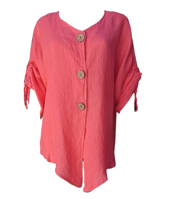 Load image into Gallery viewer, Linen V Neck with Buttons -  Luna Boutiques
