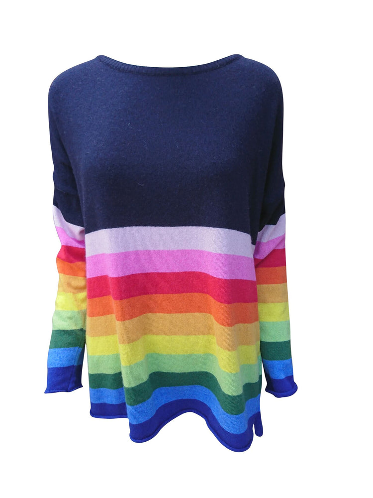 Load image into Gallery viewer, Rainbow Stripe 50% Cashmere Mix Jumper -  Luna Boutiques