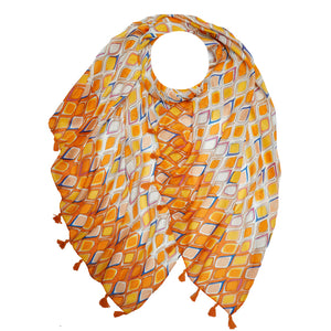 Load image into Gallery viewer, Istanbul Print Large Scarf With Tassels -  Luna Boutiques