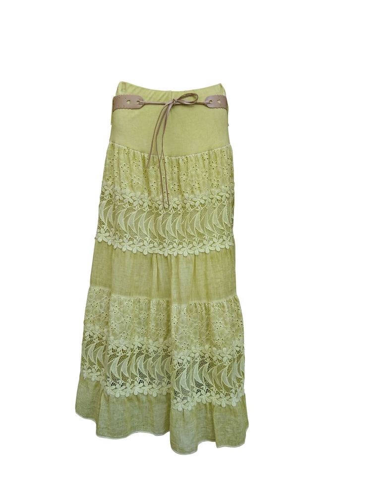 Cotton skirt with lace detail and belt -  Luna Boutiques